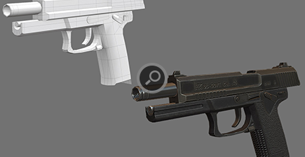 Detail view of the Pistol with wireframe